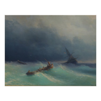 Storm at Sea by Ivan Aivazovsky 1873 Poster