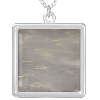 storm blowing shifting sand over boot prints silver plated necklace