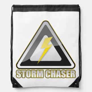 Storm Chaser Lightning Warning Sign Drawstring Bag Drawstring Bag