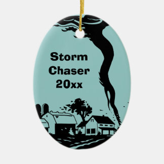Storm Chaser Tornado Twister Weather Meteorology Ceramic Oval Decoration
