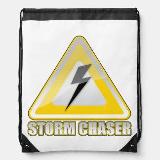 Storm Chaser Yellow Warning Sign Drawstring Bag Backpack