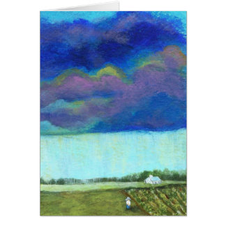 Storm Clouds Farm Garden Original Painting Card