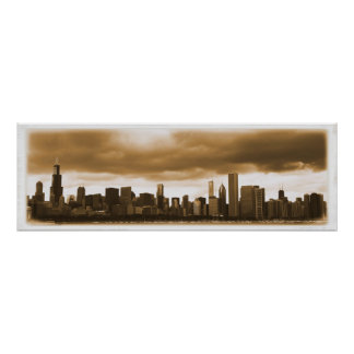 Storm Clouds Gathering - Chicago Skyline (Sepia) Poster