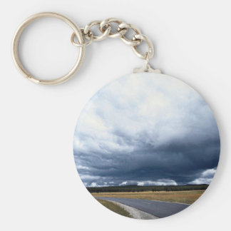 Storm clouds over Firehole River, Yellowstone Nati Keychains
