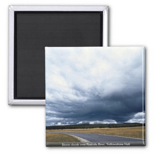 Storm clouds over Firehole River, Yellowstone Nati Magnets