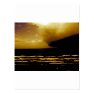 storm hurricane approaching dark clouds beach postcard