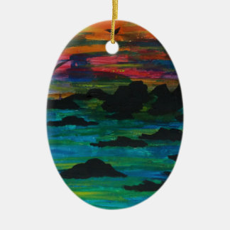 Storm in the distance ceramic oval decoration