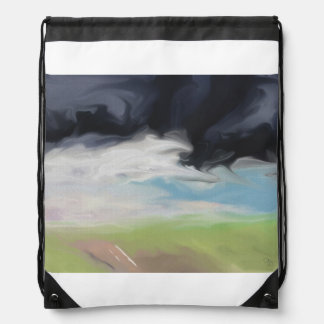 Storm Over Land and Road Art Drawstring Bag