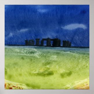 Storm over Stonehenge Print