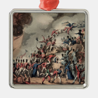 Storming of St. Sebastian, engraved by Thomas Silver-Colored Square Decoration