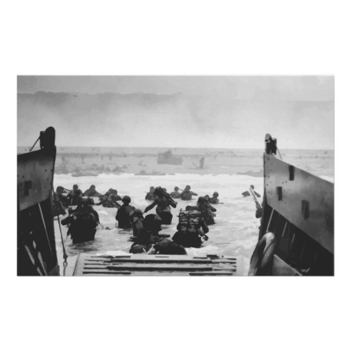 Storming The Beach On D-Day Painting Poster
