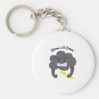 Storms A Comin Basic Round Button Key Ring