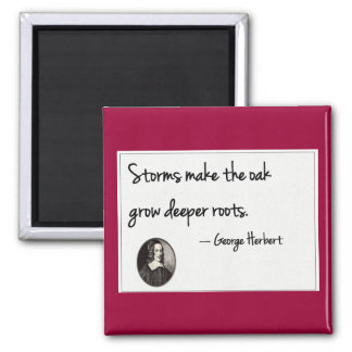 Storms make the oak grow deeper roots. square magnet