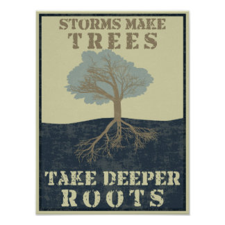 Storms make trees take deeper roots poster