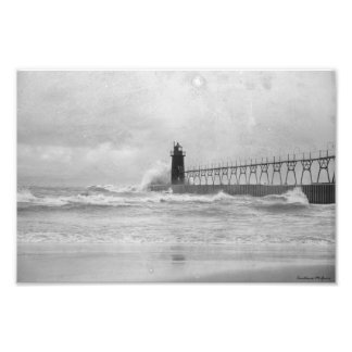 Stormy Autumn Lake Michigan Lighthouse Photograph