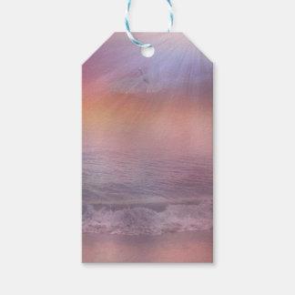 Stormy Beach Lavender Peach dove ocean tags