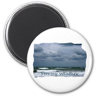 Stormy Beach with Seagulls Image Text 6 Cm Round Magnet