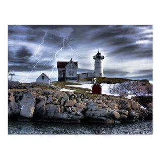"Stormy Cape Neddick ""Nubble"" light house Postcard"