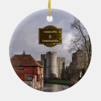 Stormy Castle And River Personalized Wedding Christmas Ornament