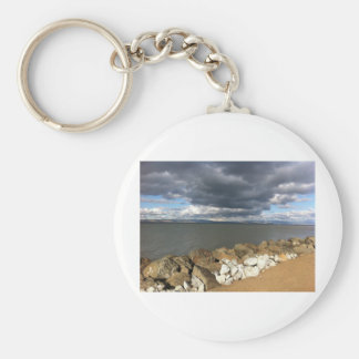 Stormy Clouds over San Francisco Bay Basic Round Button Key Ring