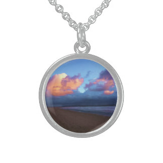 Stormy Day at the Beach Round Pendant Necklace