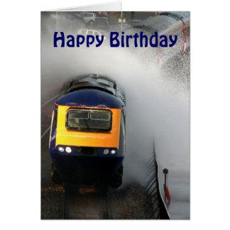Stormy day on the railway line.  Happy Birthday Greeting Card