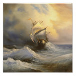 Stormy Frigate Painting Poster