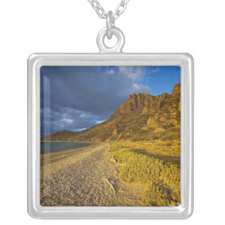 Stormy light on Isla Carmen in the Gulf of Square Pendant Necklace