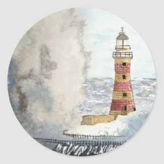 Stormy Lighthouse Classic Round Sticker