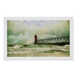 Stormy Lighthouse Poster Print