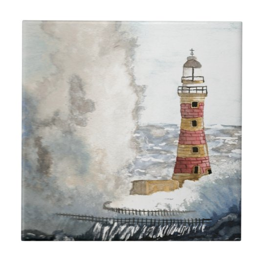 Stormy Lighthouse Small Square Tile