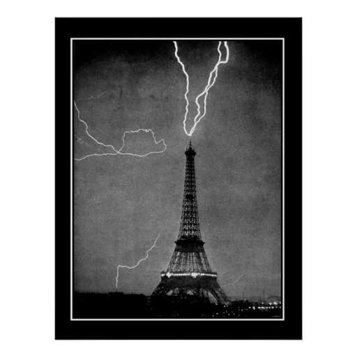 Stormy night in Paris 1909 Vintage Poster Posters