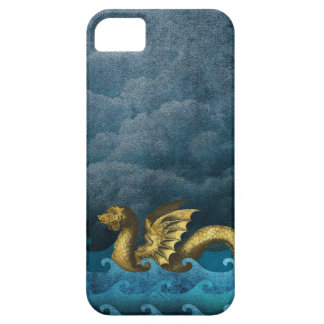 Stormy Night Sea Monster Gold Midnight Blue iPhone 5 Cases