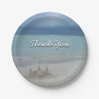Stormy Sandcastle Beach Landscape Paper Plate