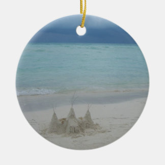 Stormy Sandcastle Beach Landscape Round Ceramic Decoration