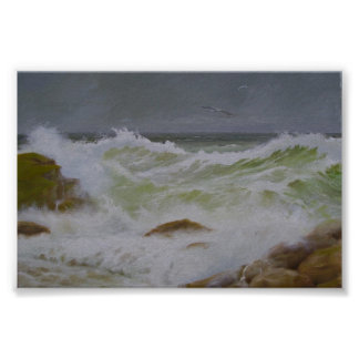 Stormy Sea and Rocks. Poster