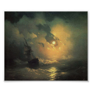 Stormy Sea at Night Seascape Painting Poster