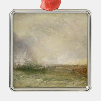 Stormy Sea Breaking on a Shore, 1840-5 (oil on can Christmas Ornament