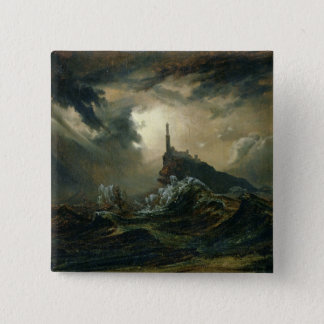 Stormy sea with Lighthouse 15 Cm Square Badge