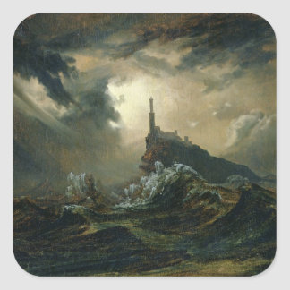 Stormy sea with Lighthouse Square Sticker