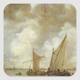 Stormy Seascape, 1655 Square Sticker