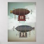 Stormy Skies Airship Noir & Rouge Steampunk Travel Poster