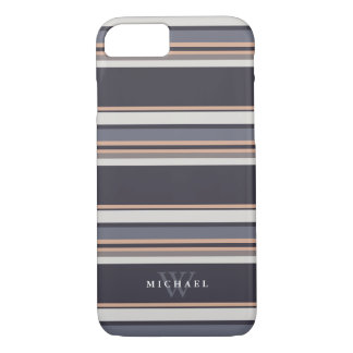 Stormy Stripes Custom Name & Monogram iPhone 8/7 Case
