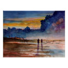 Stormy Sunset Beach Combing Watercolor Seascape Poster