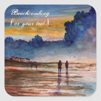 Stormy Sunset Beach Combing Watercolor Seascape Square Sticker