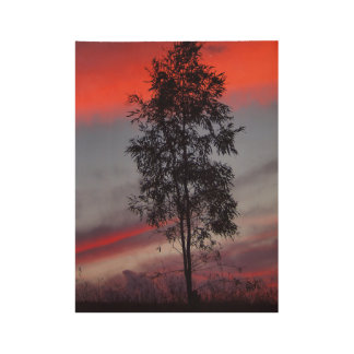 Stormy sunset wood poster