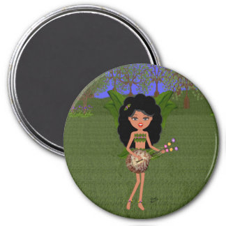 Stormy the Green Winged Faery  with a Guitar 7.5 Cm Round Magnet