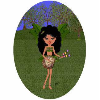 Stormy the Green Winged Faery  with a Guitar Standing Photo Sculpture