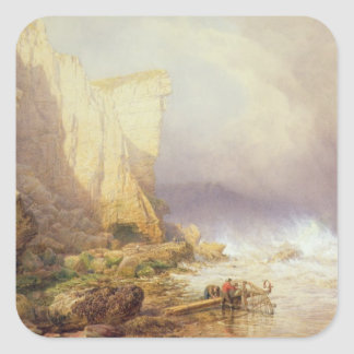 Stormy Weather, Clearing Seaton Cliffs Square Sticker