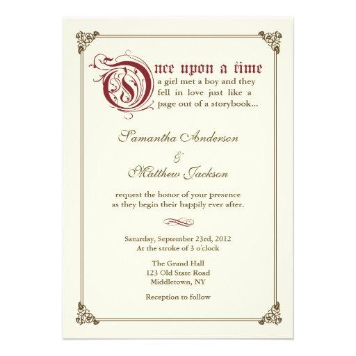 Storybook Fairytale Wedding Invitation - Burgundy